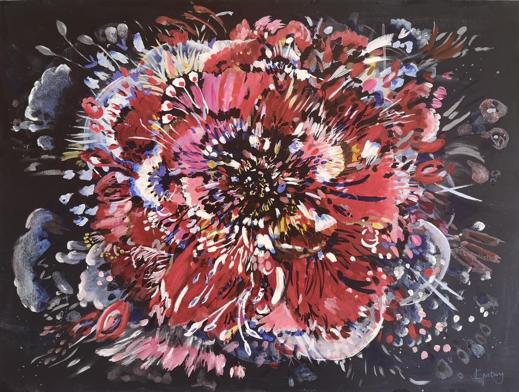 Rebel Rose abstract red floral painting on canvas