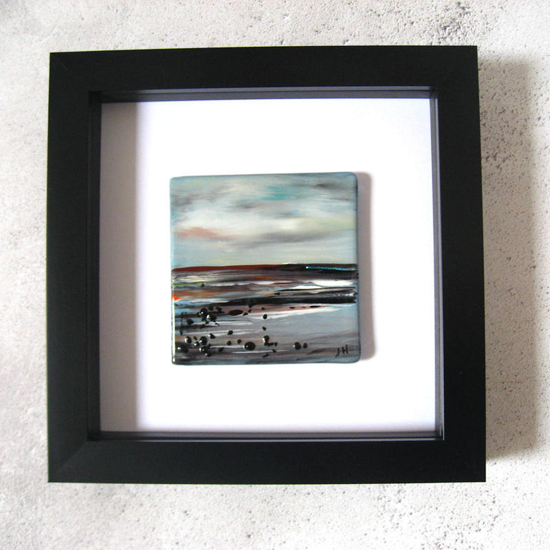 Landscape painted on fused glass, framed
