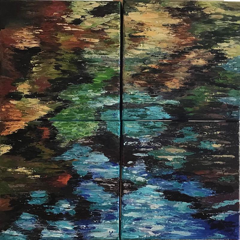 Vibrant colours show the pattern of reflections in water in this textured, palette knife painting