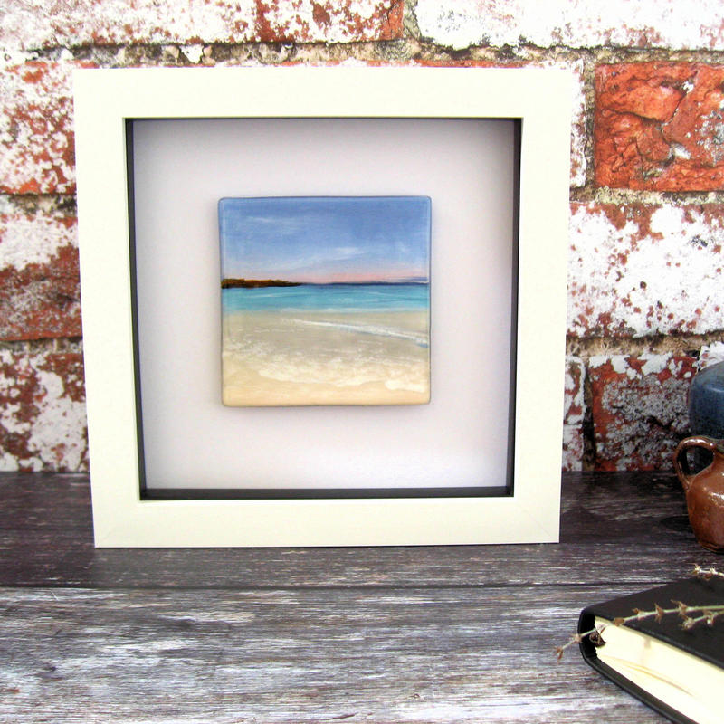 Painted seashore on glass, framed