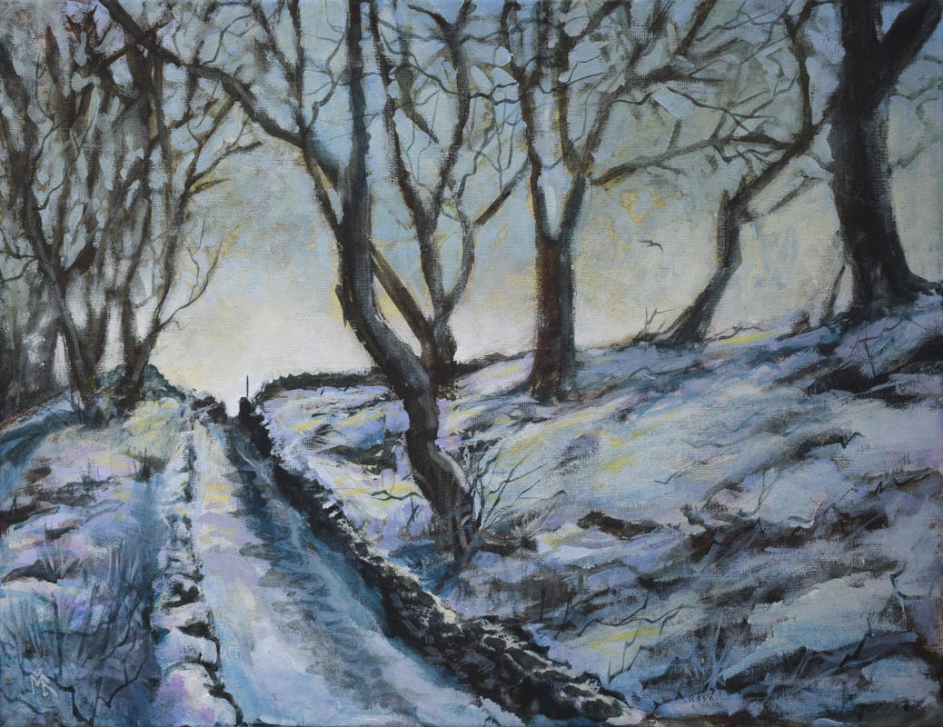 Snowy Snicket	Acrylic on canvas. An old miners track descends through a wintry Yorkshire wood.	46cm x 36cm	£295