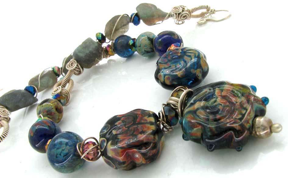 Lampwork glass bead necklace incoporating labadorite stones and silver