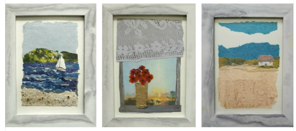 Set of small framed collages.