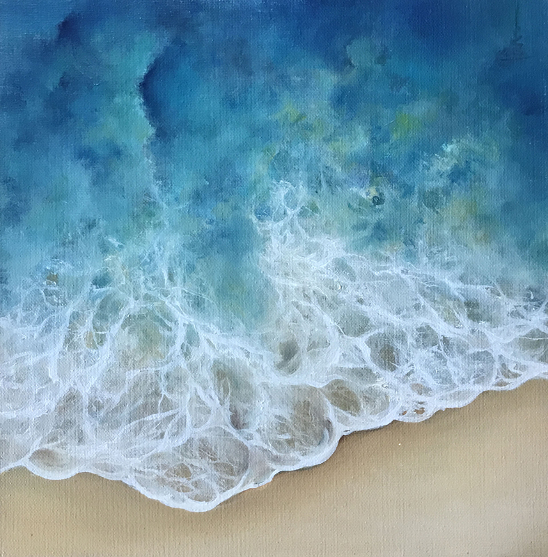Oil painting on box canvas. Seascape. Shoreline of shallow waves.