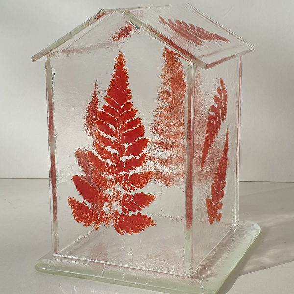 Glasshouse candle holder - Red Fern	Glass Candle/light holder on glass base.	15cm high x 10cm wide x 10cm deep	£45