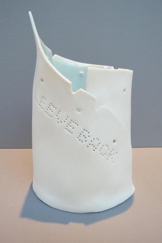 Hand built porcelain vintage sewing pattern piece