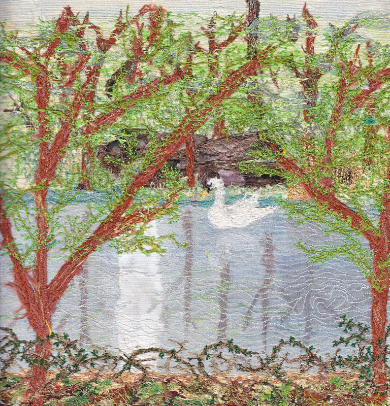 Swan Lake - paint & machine embroidery, mounted, framed