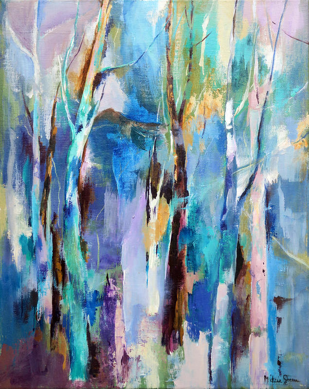 Tree Shapes, Acrylic on canvas, dramatic colour, texture, shapes atmospheric
