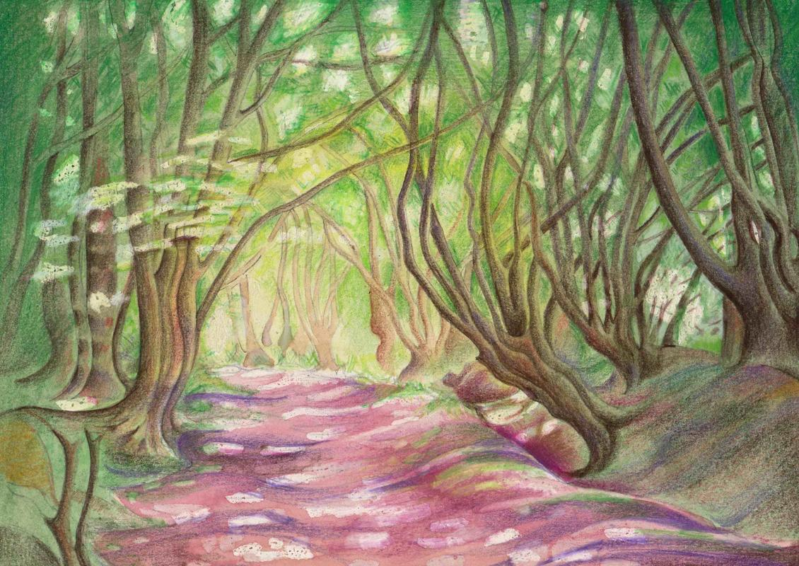 Watercolour painting of sunlight on the hollow way