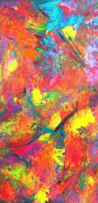 Colourful neon abstract acrylic on canvas