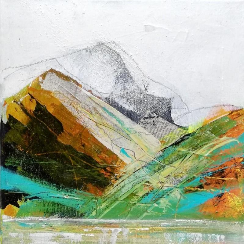 Abstract landscape painting of mountains