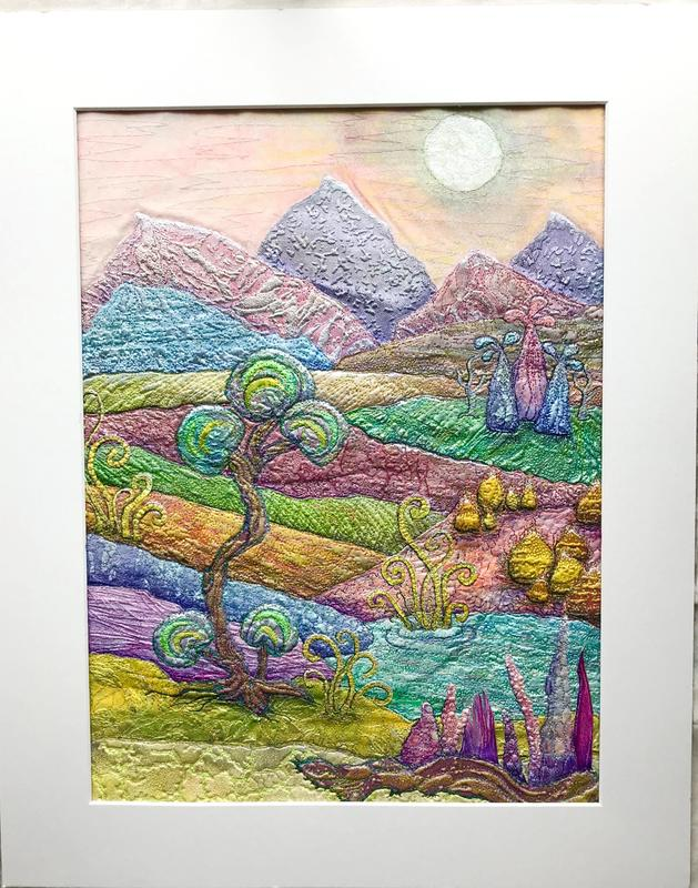 Fantasy Landscape mixed media –  painted collaged papers with machine and hand stitch
