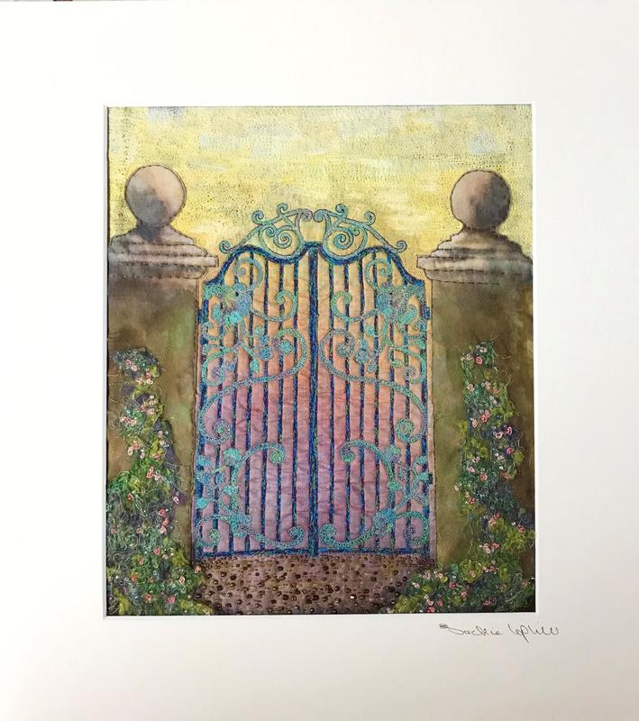 Gates at Sunset Textile – hand painted collaged fabrics with machine stitch hand stitch and beads