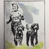 Running labradoodles Drypoint etching with chine cole