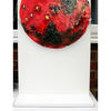 #Mars with Polar Ice Cap # Inspired by NASA's Images of Mars unseen Ice Cap #400 mm  #Sculptural Glass Art surface showing craters #Red Mars  III