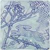 'Purple Hare' Shadow gel print made using pressed foliage and a handmade bare shape.