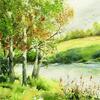 A Hint of Autumn. Framed Watercolour. 49 x 49cm.