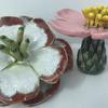 Stoneware ceramic flowers for garden sticks. 12cm £25 to £40 each