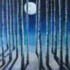 Moonlit Forest - the moon reflects cool shadows through the trees in this mixed media painting. Part of the 'forest' series.