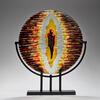 Gravitational Pull, fused glass, silver leaf, copper, steel. 54 x 30 x 7 cm