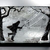 Chelsea Embankment in the Rain, multiple layers of fused glass, slate.  38 x 27 x 7 cm