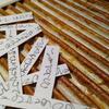 Memory sticks closeup. Mixed media using card, acrylics, paper, ink