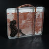 Dreaming of the Seaside postcard, fused glass, copper, photography.  14 x 15 x 1.5 cm