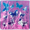 'Pink Butterflies' Layered gel prints using foliage and butterfly shapes.