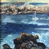 Tresco, towards Bryher. Plein air. Acrylic landscape  painting on board. Approx 35x20cm Prints available.