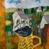 yellow jug. Acrylic on paper 12x10