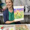 Student during Watercolour Tulips Workshop