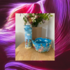 Handmade Ceramic Decorative Vase and Bowl with 3D figures on the surface Size: vase is 27.5 x 8.5 x 8.5 cm -Bowl 12 x 20 x 21 cm