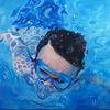 Christopher Swimming  Oil on Canvas 2018. 4ft by 3ft