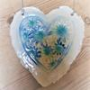 Hanging heart plaque made from porcelain, glass and finished with hand painting.
