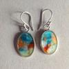 Fine silver and transparent enamelled earrings with 24 caret gold leaf