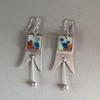 Silver cloisonnee enamelled earrings