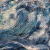 'High Seas' a close up look at the power of nature. Big bold acrylic. 90 x 60 cm