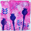 'Pink Poppy Seed Heads' Gel print made using handmade foam stamps.