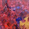Fluid art cells on canvas