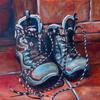 'Made for Walking' this oil painting contrasts the textures of well-worn leather, terracotta tiles, brick work and wood.