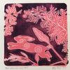 'Pink Whimsical Hare' Gel print with foliage, a handmade hare shape and white gel pen.