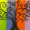 Four Seasons Tree of Life Original Fused Glass panel suitable for Kitchen Splashbacks or wall decoration.
