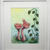 Two fantasy Toadstools - painted fabrics appliqued to a painted background with machine stitching