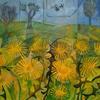 Dandelion meadow. Acrylic on paper 10x10