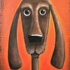 """""""Brown Hound"""" original painting in acrylics on hessian (on MDF board box)"""