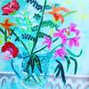 Lockdown Bouquet - Lillys and Ferns - Acrylic on board (50cm L x 50cm W) £185
