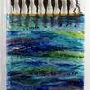 Ocean Energy wall panel, fused & slumped glass, copper, silver leaf.  48 x 22 cm