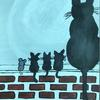 Cat, kittens and mouse on the roof SOLD