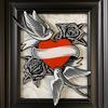 Hearts and Swallows, Fused and Hand Painted Glass Wall Art