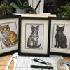 """Commission """"Oscar, Tilly and Wilbur"""" pen and ink"""
